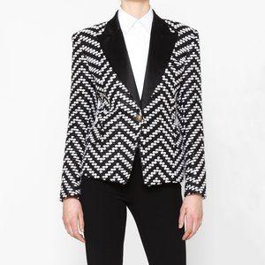 Auth BALMAIN Blazer Tweed Black&White chevron wool
